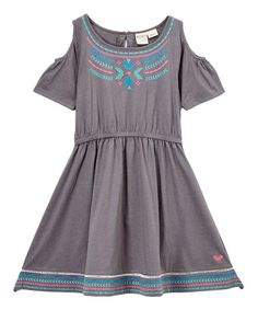 Love this cold shoulder dress with embroidered detail from Roxy for tween girls. #fashion