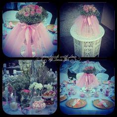 #christening #pink #tutu #arrangements #roses