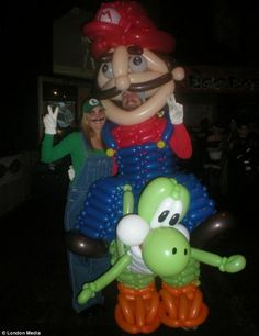 Wright's talent for twisting balloons saw him become both Super Mario and his dinosaur sidekick Yoshi