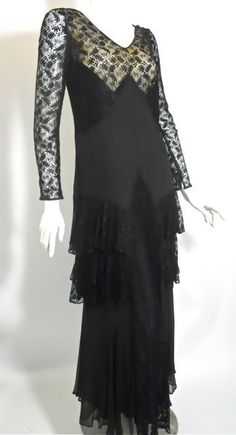 Black Lace Evening 1930s Gown with Nude Netting