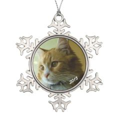Dated snowflake ornament with a photo of your special fur friend