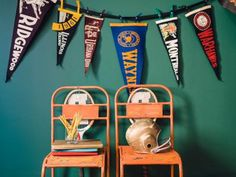 Vintage pennants are fun to collect because they were made for virtually every place you can think of from vacation spots to high schools! This blog provides a fun DIY for making them into a banner for display!