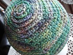 This is the baby version of my Spring Spirals Beanie. It was inspired by the lovely colors of Malabrigo yarn. In my search for stitches that show off such beautiful yarn I realized a simple single crochet in the back loop does wonders. One Skein Crochet, Crochet Adult Hat, Spiral Crochet, Crochet Hat For Women, Crochet Beanie, Single Crochet, Free Crochet, Knitted Hats, Crochet Hats