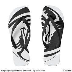 Yin yang dragons tribal pattern flip flops b&w