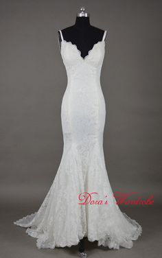 Elegant Mermaid lace wedding dress,Spaghetti Straps wedding dress,cheap white wedding dress,Brush train Wedding Dress,Custom made dress