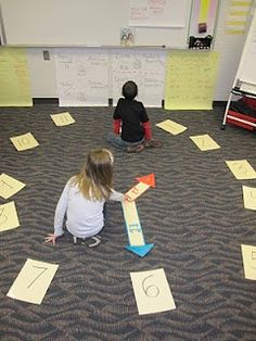"""I taught this! Cut squares of paper, write numbers 1-12 on them, make two hands from paper and place all pieces in a clasp-envelope and students arrange their own """"clocks""""."""