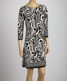 Take a look at the Black & White Abstract Wave Three-Quarter Sleeve Boatneck Dress on #zulily today!