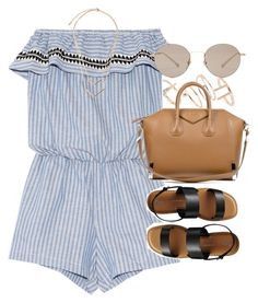 """""""Outfit for summer with a striped playsuit"""" by ferned on Polyvore featuring Topshop, Lemlem, Givenchy, Gap and Gucci"""