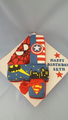 Superhero number cake More