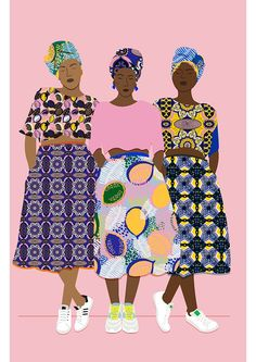 African Beauty - Beautiful Illustration by Céleste Wallaert Art And Illustration, Illustration Inspiration, Art Africain, African Art, African Prints, African Beauty, African Style, African Patterns, African American Art