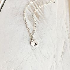 Tiny 925 Sterling Silver Initial Necklace  by CoCoWagnerJewelry