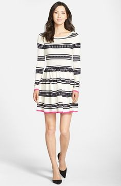 Eliza J Stripe Fit & Flare Sweater Dress available at #Nordstrom