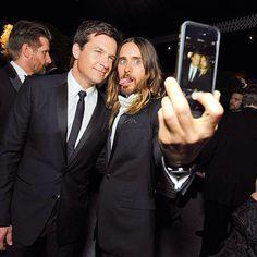 Jared Leto taking a selfie with Jason Bateman