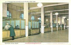 Ellis Island Railroad Ticket Room Vintage Postcard