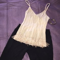 Express beige fancy beaded top  Super gorgeous beige beaded top  great condition  xS.  100% raylon  posh rules only  Express Tops