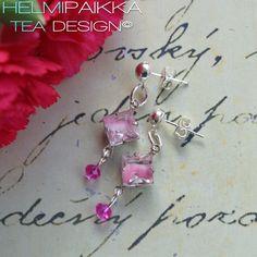Fuksianpunaiset vintage kristalli korvikset