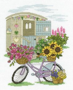 Buy Flower Bicycle Cross Stitch Kit Online at www.sewandso.co.uk