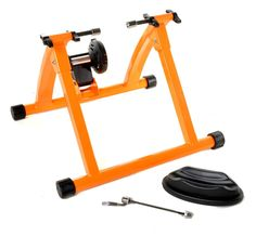 """Stay in shape throughout the winter months with a Conquer Indoor Bicycle Cycling Trainer! This bike trainer is easy to assemble, and conveniently folds for compact storage when your workout is over. The Conquer Indoor Cycling Trainer works with 26"""", 27"""" and 700c bikes (which must have a quick release rear wheel) and is simple to use with just a single knob to adjust the progressive magnetic resistance.The strong steel construction and wide frame along with the included front wheel riser…"""