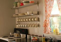 IKEA Grundtal shelving collection (love the use for hanging mugs) Kitchen Shelving Units, Ikea Kitchen Cabinets, Kitchen Decor, Kitchen Design, Open Shelving, Kitchen Storage, Wire Shelving, Wall Storage, Craft Storage