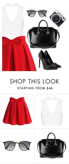"""""""Look: Tudo combina com o Preto."""" by mikaell-fw on Polyvore featuring moda, Chicwish, Ray-Ban, Givenchy, Yves Saint Laurent, shoes e instagram"""