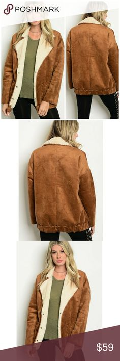 🌟NEW! Chic Camel Suedette Shearling Jacket On trend, warm & cozy!   Color: Camel/Cream  Fabric Content: 100% Polyester  Sizes: S-M  ▪ Price Is Firm  ▪ No Trades  ▪ Fast Shipping Moda Ragazza Jackets & Coats
