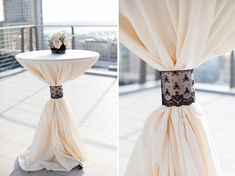 Mimic the bridesmaid dresses Cocktail Tables can also have lace detailing on them to add a very delicate and elegant look and feel to it