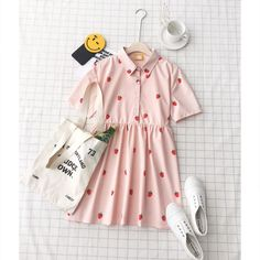 Cute strawberry print dress in pink and red