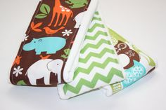 Baby Burp Cloths - Set of 3 - Michael Miller Zoology in Mud, Green Chevrons and Swedish Owls