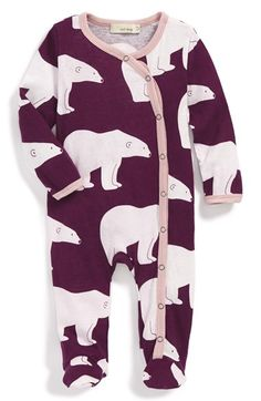 Zebi Baby 'Plum Polar Bear' Organic Cotton Footed Romper (Baby Girls) available at #Nordstrom