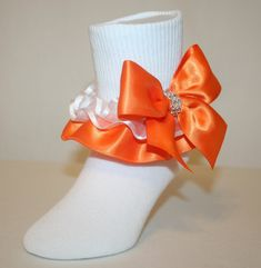 a58f34986 Girls White Nylon-Cotton Bobby Socks with Orange Satin Ruffles Bows  Rhinestone loop Ruffle Laura by Socks For A Princess