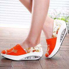 Pattern Color Blocking Canvas Platform Rocker Sole Shake Shoes
