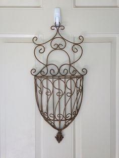 Vintage Metal Hanging Basket, Hanging Flower Basket, Wall Basket, Shabby Chic Decor on Etsy, $42.00