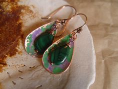 Hammered Copper Earrings with Genuine Malachite Teardrop Beads, $23.00