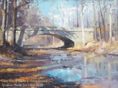 """A marvelous use of light and color in this painting by NOAPS artist Lawrence Rudolech, IN. Notice the bounces of colors, the light and reflections playing here and there with touches of blues, whites, grays and even orange to bring life and time movement to this artwork. """"Not Just a Bridge"""" received the Best Use of Light & Color Award"""" at the Best of America at the Addison Art Gallery.  NOAPS Exhibits: http://www.noaps.org/html/exhibits.html"""