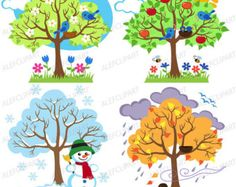 Items similar to Four Seasons Trees Clipart Seasonal Trees and Birds Clipart Clip Art Vectors - Commercial and Personal Use on Etsy Bird Clipart, Tree Clipart, Four Seasons Art, Seasons Lessons, Art For Kids, Crafts For Kids, School Decorations, Winter Trees, Cute Birds