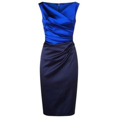 Talbot Runhof Gathered Satin Pencil Dress (4,245 ILS) ❤ liked on Polyvore featuring dresses, party dresses, pencil cocktail dress, embellished cocktail dress, v neck cocktail dress and holiday party dresses