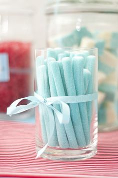 Beautifully hued blueberry sour strap candy sticks. #blue #candy #party #food #blueberry #jar #pastel #birthday
