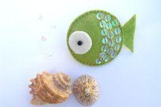 Felt Fish Brooch Green, Felt Brooch, Green Fish, Felt Fish, Fish Brooch, Fish Pin, Felt Fish Badge, Handmade