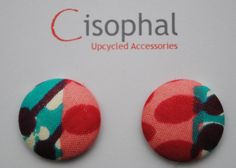 Fabric Covered Button Earrings  African Fabric Pink & by Cisophal, £8.00