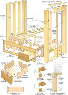 Wood Furniture Plans and Craft Plans For DIY Woodworking - Furniture Woodworking Plans Bed Desk Woodworking Projects That Sell, Woodworking Furniture, Diy Woodworking, Furniture Plans, Woodworking Equipment, Building Furniture, Woodworking Supplies, Woodworking Classes, Woodworking Techniques