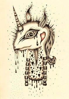 A unicorn by Bafefit #lowbrow #art pop surrealism