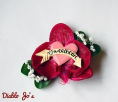 50's Sweetheart Valentines heart hair flower , Glitter flower, Rockabilly, Vintage, Pin Up by DiabloJos on Etsy