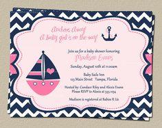 Nautical Chevron Baby Shower Invitations for by TheInviteLadyShop, $7.50
