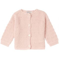 Cozy cotton knit cardigan that buttons up the front in soft blush pink. Baby Outfits, Mauve, Blush Pink, Baby Vest, Mode Online, Trendy Colors, Cute Baby Clothes, Baby Girl Fashion, Kind Mode