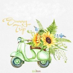 watercolor clipart retro moped with floral bouquet