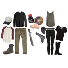 Cosplay Everyday: Glen & Maggie, The Walking Dead by heartlockett on Polyvore featuring Mlle Mademoiselle, H&M, Topshop, Hollister Co., ASOS, American Eagle Outfitters, Frye, Koh Gen Do and Holster