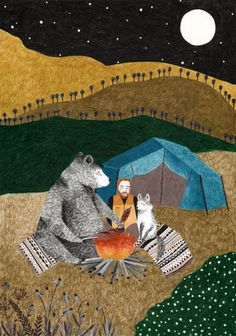 Another atmospheric design by Lieke van der Vorst. The colourful but simplified landscape contrasts beautifully with the grey but rich characters. One wonders what the campers are looking for in each other's company. They seem to be getting along well.