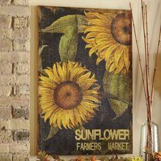 Sunflower Print On Burlap