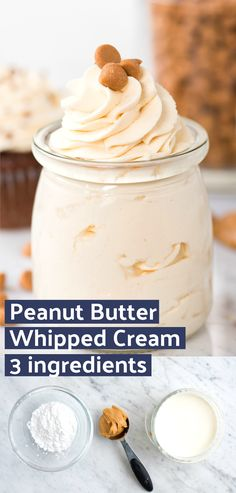 Easy to make peanut butter whipped cream frosting! This peanut butter whipped cream makes a great frosting for cake & cupcakes. Includes recipe note for how to make keto peanut butter whipped cream. ideas # Food and Drink ideas peanut butter Whipped Cream Desserts, Keto Whipped Cream, Recipes With Whipping Cream, Whipped Frosting, Homemade Whipped Cream, Whipped Topping, Easy Frosting Recipe, Healthy Frosting Recipes, Chocolate Whipped Cream Frosting