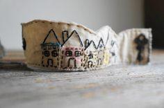 Little Houses  Textile Cuff Bracelet  Vintage by Mymindsattic,